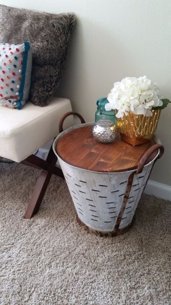 decor steals olive bucket turned table hack, home decor