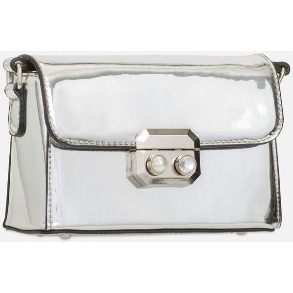 Shiny Faux Leather Clutch Bag by Koko Couture (110 PEN) ❤ liked on Polyvore featuring bags, handbags, clutches, silver, vegan purses, vegan leather handbags, faux leather purses, synthetic leather handbag and vegan leather purses