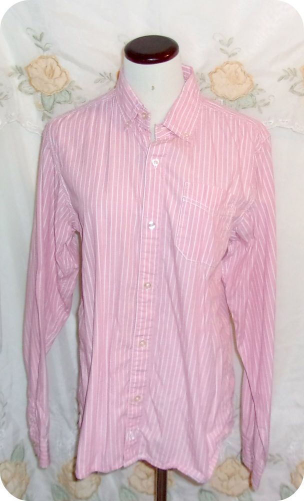 RED CAMEL Womens Top Size L Pink White Stripe Button Down Long Sleeve Cotton  #RedCamel #ButtonDownShirt #CasualCareer #Ebay #Fashion #Clothing #Womens #Top #Freeshipping #SizeL