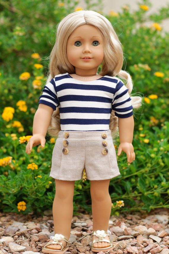 Doll Clothes: Trendy Pintuck Shorts with Navy and Cream Striped 3/4 Sleeve Tee on Etsy, Sold