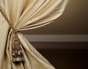 CHAMPAGNE and PORCELAIN Blue silk curtain by Zylst…