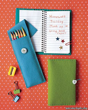 might try this: Ideas, Felt Pencil, Back To Schools, Sewing Projects, Felt Crafts, Notebooks Covers, Martha Stewart, Pencil Cases, Pencil Holders