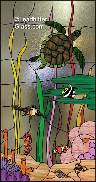 Image detail for -Leaded Glass Turtles & Tropical Fish for Client in Inverness Scotland