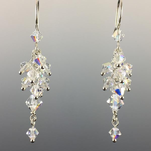 Handcrafted Swarovski Crystal & Swarovski Crystal Pearl Cluster Earrings 100% Sterling Silver Made in CT USA Perfect for Brides or Bridesmaids Casual Formal