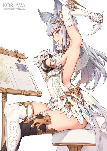 Image d'anime 				781x1100 avec  		granblue fantasy 		korwa (granblue fantasy) 		gou (ga673899) 		long hair 		single 		tall image 		blush 		looking at viewer 		blue eyes 		light erotic 		breasts 		smile 		simple background 		fringe 		bare shoulders 		sitting 		animal ears 		silver hair 		profile 		no bra
