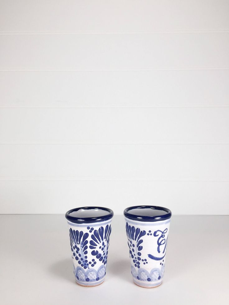 Hand painted blue shot glasses by LeroyBrownFurnishing on Etsy