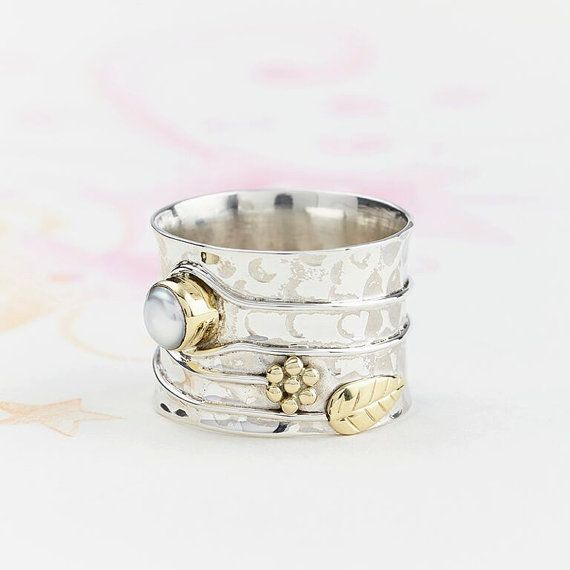Pearl Silver Flower Ring, Handmade, Hammered Ring, Wide Silver Ring, Pearl Sterling Silver Ring, Charlotte's Web, JR121