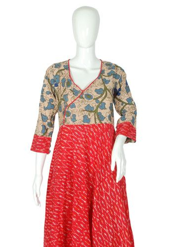 Red Ikat and Kalamkari Angrakha Anarkali Design 2