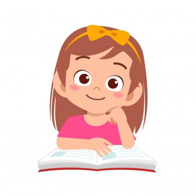 Happy Cute Kid Girl Study With Smile Premium Vector Freepik Vector School People Education Girl Kids Cartoon Characters Cartoon Kids Cute Kids