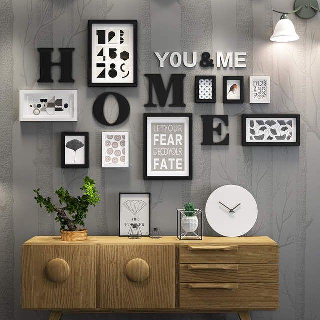 Bois massif grandes images cadres moderne salon peinture cadre Photo ensemble grande taille en bois lettre maison mur décoration bricolage