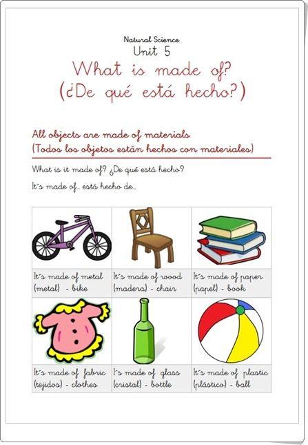 """Unidad 7 de Natural Science de 1º de Primaria: """"Using materials"""""""