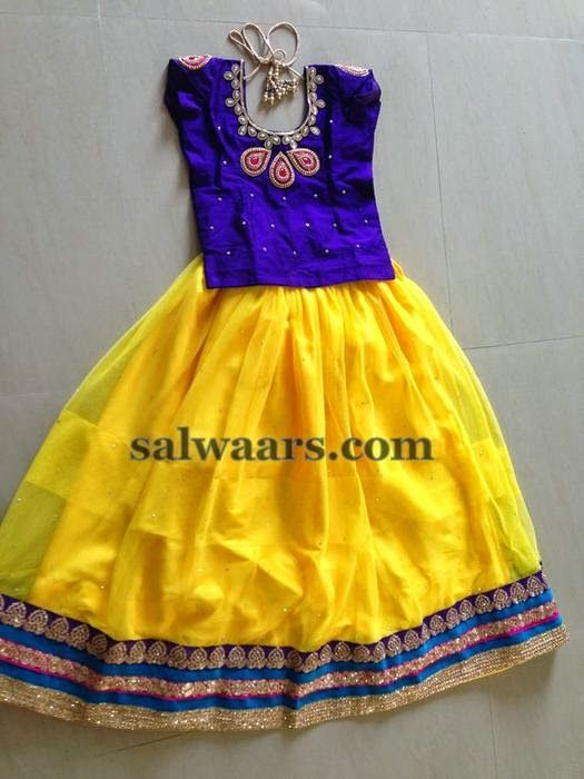 Yellow and Purple Skirt - Indian Dresses