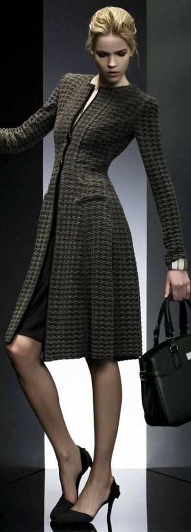 Such a cute coat! (A structured coat that has a little flare and flow. Very feminine. Giorgio Armani)