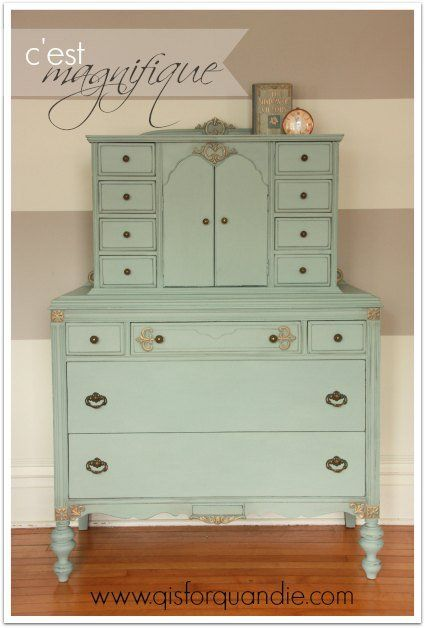 Dresser painted in Annie Sloan Chalk Paint® in color Duck Egg