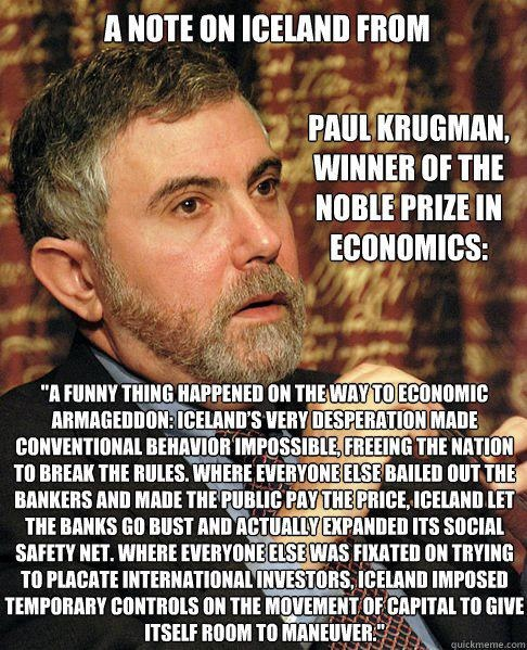 A note on Iceland from Paul Krugman winner of the noble price in economics | Anonymous ART of Revolution