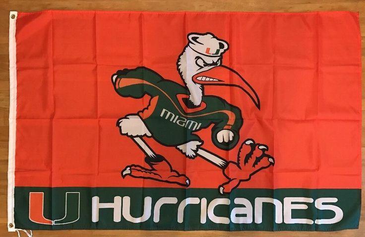 NCAA Miami Hurricanes Football Flag Banner 3X5 FT Man Cave FREE SHIPPING!! #MiamiHurricanes