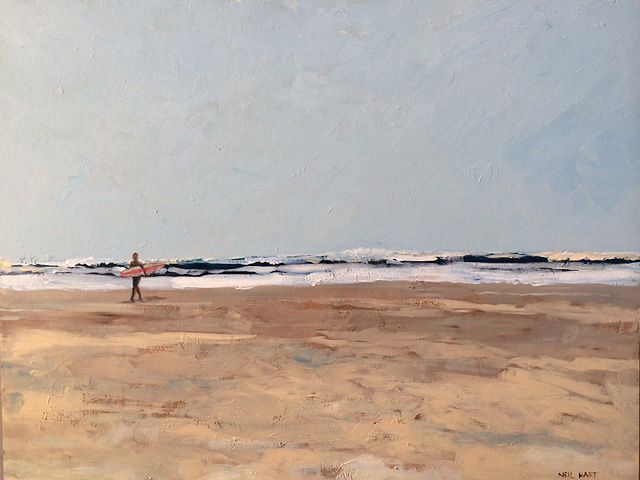 Sea, Sky and Solitude: Acrylic, size 800 x 620mm. Places we long for: a wide open beach, solitude, crashing waves, adventure...these are the contrasting things of a peaceful and a racing heart.