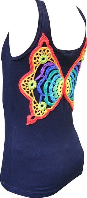 Crochet butterfly wings on tank top - would be great for little girls