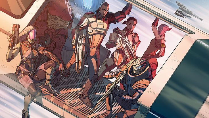 The old crew is back together! Art for the 10th anniversary of Mass Effect by Matt Rhodes