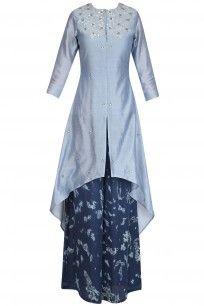 Grey Gota Patti Work C Cut Kurta with Palazzo Pants