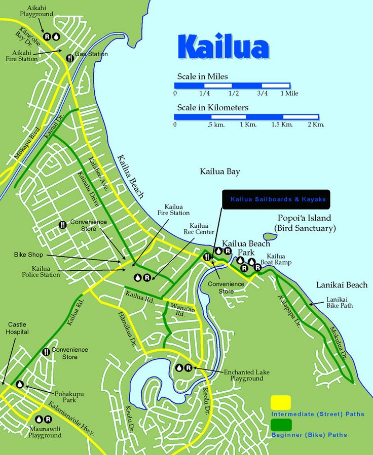 Kailua Hawaii Kailua Bike Trail Map Kayaking In Kailua