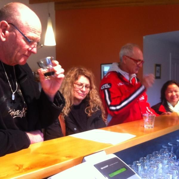 Tasting beer at Seven Sheds Brewery