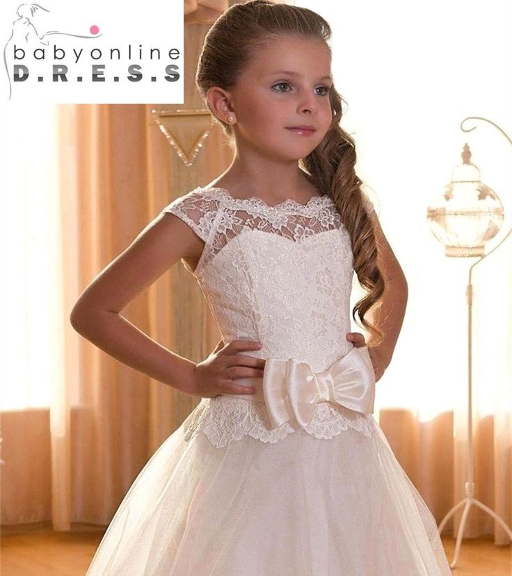 2017 New Fashion First Communion Dresses for Girls Cap Sleeve Lace Flower Girl Dress for Weddings Lace up Back Pageant Dresses