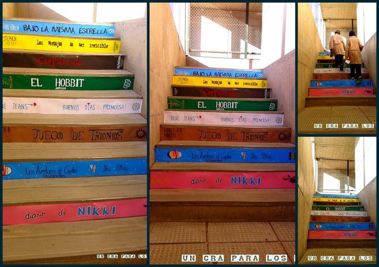 Escalera Literaria echa por Daniela Quiroz   decoración biblioteca escolar decoración biblioteca infantil deco Library