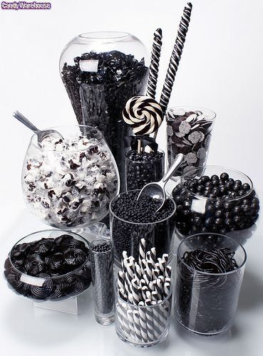 Perfect Candy Buffet to go along with the black and white tie affair theme.