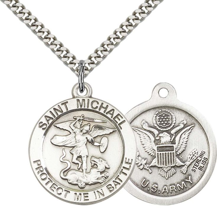 """Sterling Silver St. Michael Pendant with 24"""" Stainless Steel Heavy Curb Chain. Patron Saint of Police Officers/EMTs. 925 Sterling Silver Pendant with Stainless Steel ChainChain. Includes Deluxe Gift-Box. Made in USA. Lifetime Guarntee."""