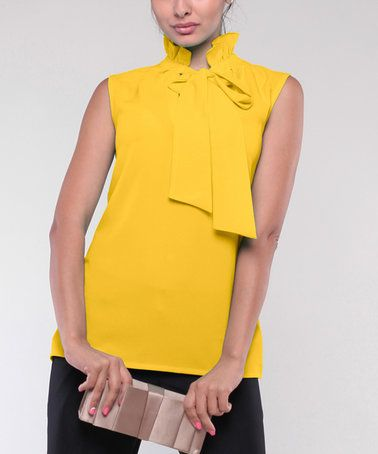 Another great find on #zulily! Yellow Ruffle Tie-Neck Tank - Plus Too #zulilyfinds