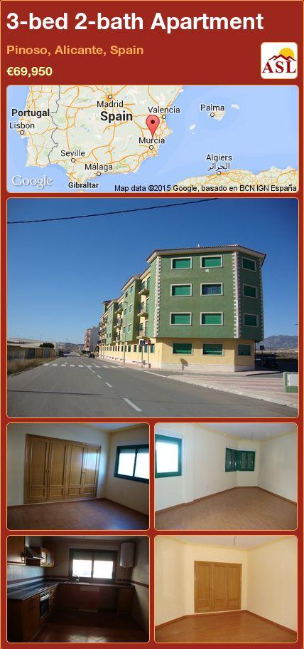 3-bed 2-bath Apartment in Pinoso, Alicante, Spain ►€69,950 #PropertyForSaleInSpain