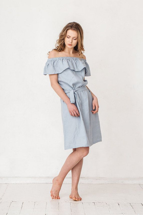Robe d'été lin bleu poussiéreux, robe en lin avec des volants, robe en lin Minimal, vêtements femme lin, robe en lin, robe Simple