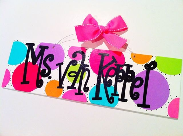 5x16 personalized teacher name sign with apple hand painted wood