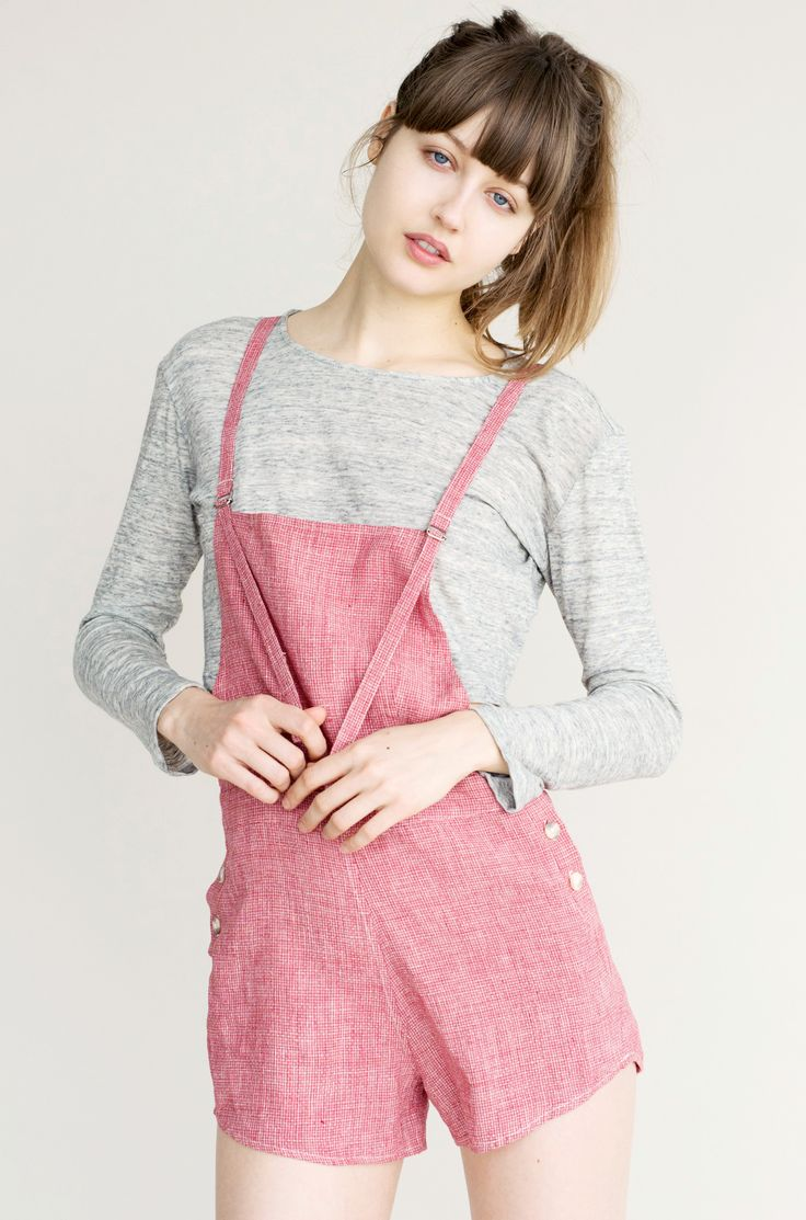 Jo Dungarees Shorts - Red Stitch