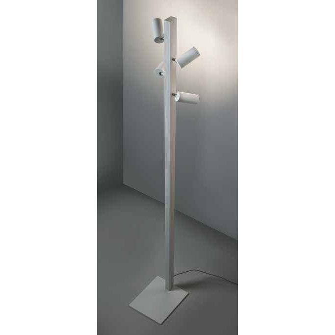 Valkoinen lattiavalaisin thokkailla ledspoteilla esim. alulaan ja olohuoneen tai vastaavan korkean tilan valaisimeseen. Spotit valittavissa tilattaessa erillaisilla valonväreillä ja valaisukulmilla.