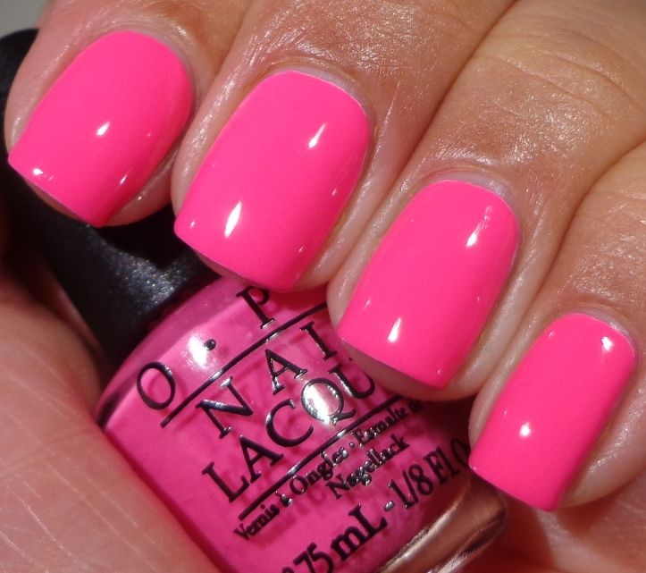 OPI: ♥ PINK OUTSIDE THE BOX ♥ Neon Collection.  Hot Pink creme nail polish.  Great shade for Summer, especially on toes & with a tan!