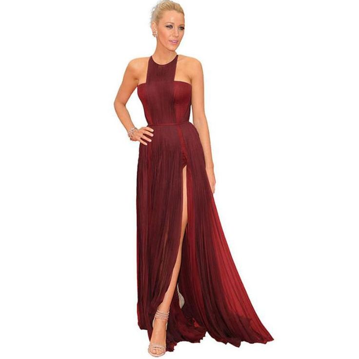 2017 Long Burgundy Celebrity Dresses Red Carpet Dress Halter Chiffon Split Formal Evening Prom Gown Vestidos De Festa WL87