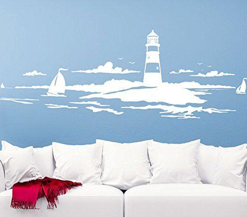 Lovely Wandtattoo G nstig G Skyline K stenlandschaft Leuchtturm Wandaufkleber Wandsticker wei BxH x