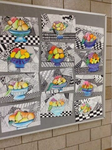We used Sharpie for our Zentangle backgrounds and chalk pastel for our still lifes. Focus was on variety of pattern as well as varied line thickness and value blending. At the beginning of the lesson, the still life image was projected on screen to allow for large classes to view it in detail.