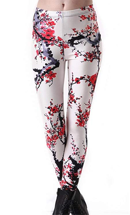 17dee1881bb Hoyou Funky Print Leggings for Women Galaxy Floral Tribal Sexy Smooth Crazy  Patterned Pants Slimming Girls at Amazon Women s Clothing store