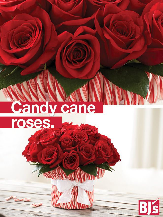 Candy Cane Crafts - Give red roses a Christmas makeover with this easy holiday tablescape idea. http://stocked.bjs.com/content/candyland-red-roses