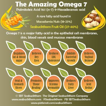 Omega 7 is a rare fatty acid in the epithelial cell membranes, skin, blood vessels and mucous membranes.   The Amazing Omega 7 has many benefits including regulating fat and blood sugar metabolism (shows promise for diabetes), reducing LDL Cholesterol, relieving acid reflux, oral and stomach ulcers, dry eyes and vaginal dryness, promoting tissue healing, reducing fatty liver and improving eczema and dermititis.  Palmitoleic Acid (16:1) Sources:  Macadamia Nuts 18-25%  SBT Fruit Oil 27-40%