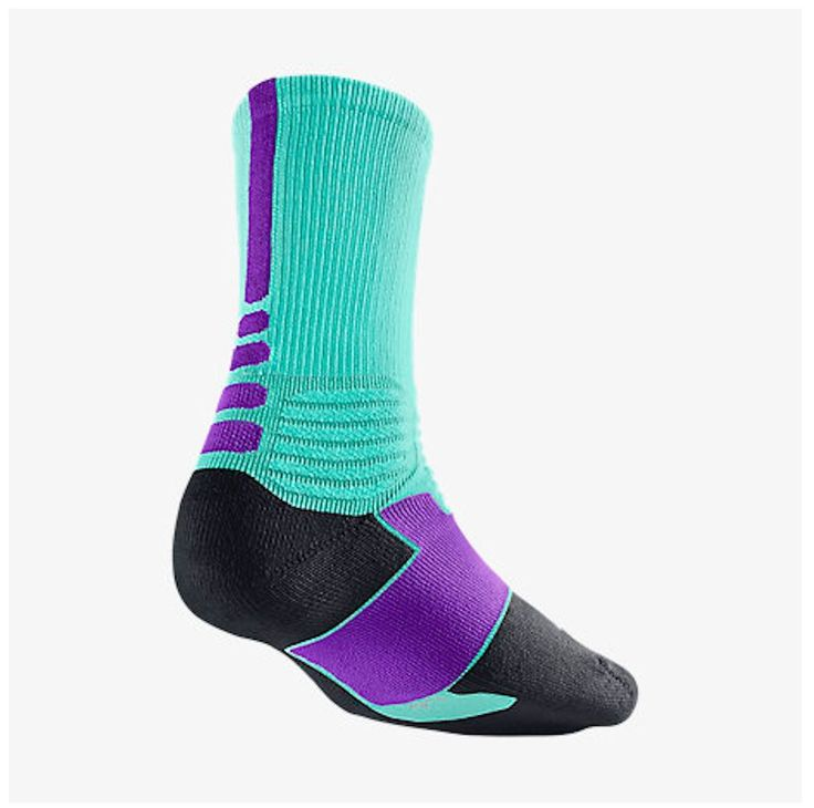 NIKE HYPER ELITE CREW SX4801-357 Bleached Turquoise/Hyper Grape Socks Sz 8-12 L #Nike #Socks