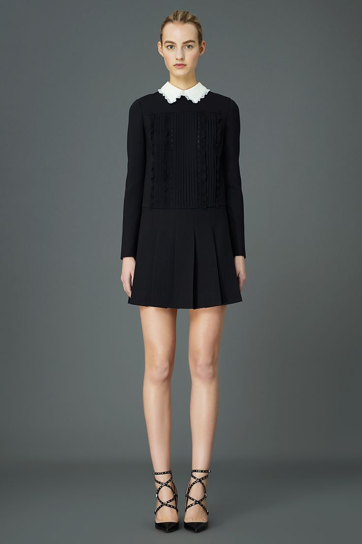 Valentino Pre-Fall 2015 Runway – Vogue. Classic little black dress (with white collar)