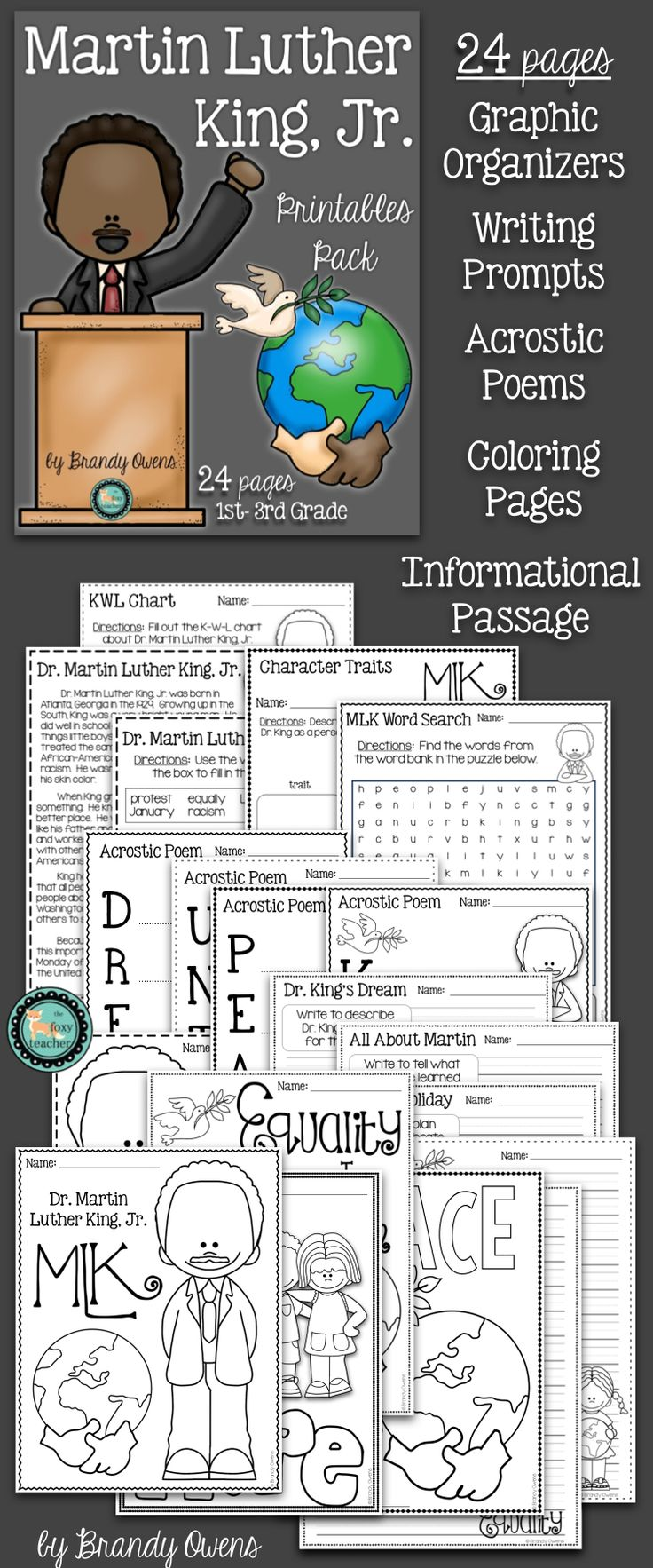 1000 images about writing prompts early finishers martin luther king jr literacy printables pack