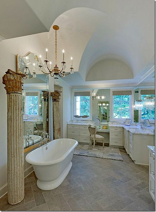 vanity only: Ribbons House, Dreams Bathroom, Bathroom Ceilings, Pink Ribbons, Columns, French Country, Beautiful Bathroom, Cote De Texas, Master Bathroom