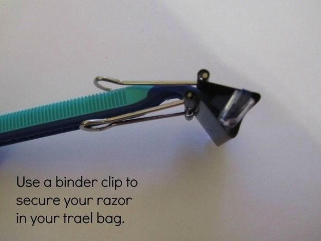 Binder clips will keep your razor heads secure. / 22 Easy Tricks To Make Packing So Much Better
