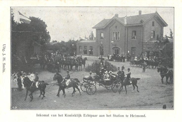 Aankomst van Koningin Wilhelmina en prins Hendrik bij hun bezoek aan Helmond