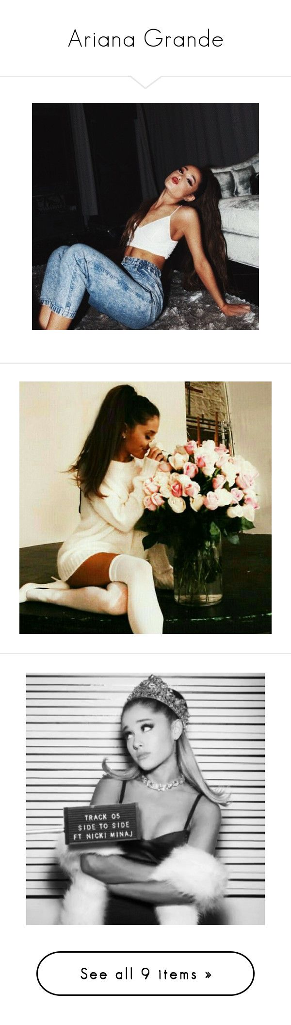 """""""Ariana Grande"""" by natalie-katycats ❤ liked on Polyvore featuring ariana grande, dangerous woman, people, pictures, pictures black and white, models, hair and backgrounds"""